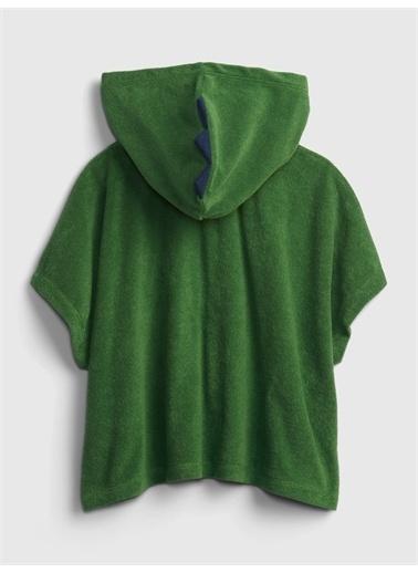 Gap Erkek Çocuk   3D Dinozor Desenli Kapüşonlu Havlu Yeşil